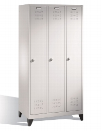 CP Garderobenschrank 12810-30 auf Füßen 3 Abteile - Lichtgrau