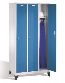 CP Garderobenschrank auf Füßen 3 Abteile - Lichtgrau/Lichtblau