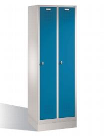 CP Garderobenschrank 12820-20 2 Abteile auf Sockel - Lichtgrau/Lichtblau