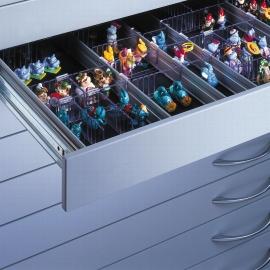 CP Schubladeneinteilung 7100-709 mit Aluminium-Schienen mit je 5 transparenten Querunterteilungen