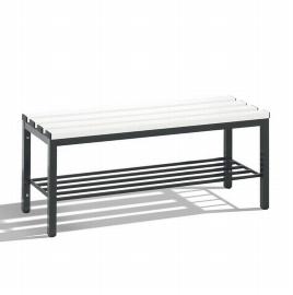 C+P Sitzbank 8050-010 freistehend mit Schuhrost 4 Füße (HxBxT) 420x100x353mm Schwarz/Weiß