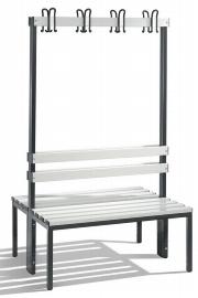 C+P Garderobenbank doppelseitig 8050-200 2x4 Doppelhaken 2x4 Füße (HxBxT) 1650x1000x403mm Lichtgrau/Schwarz