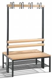 C+P Garderobenbank doppelseitig 8050-210 mit Schuhrost 2x4 Doppelhaken 2x4 Füße (HxBxT) 1650x1000x403mm Buche/Schwarz