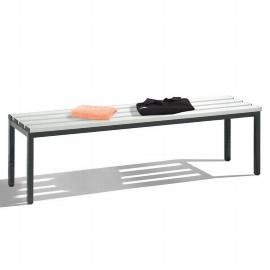 C+P Sitzbank 8051-000 freistehende Sitzbank mit 4 Füßen (HxBxT) 420x1500x353mm Schwarz/Lichtgrau