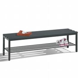 C+P Sitzbank 8051-010 freistehend mit Schuhrost 4 Füße (HxBxT) 420x1500x353mm Schwarz