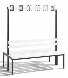 C+P Garderobenbank doppelseitig 8051-200 2x6 Doppelhaken 2x4 Füße (HxBxT) 1650x1500x403mm Weiß/Schwarz