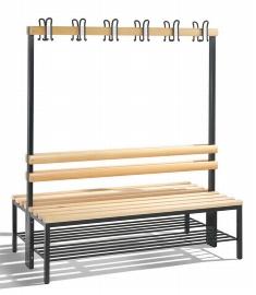 C+P Garderobenbank doppelseitig 8051-210 mit Schuhrost 2x6 Doppelhaken 2x4 Füße (HxBxT) 1650x1500x403mm Buche/Schwarz