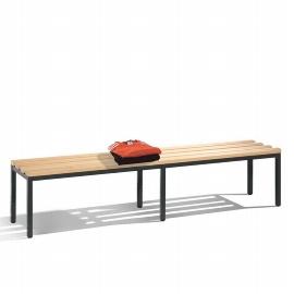 C+P Sitzbank 8052-000 freistehende Sitzbank mit 6 Füßen (HxBxT) 420x1960x353mm Schwarz/Buche