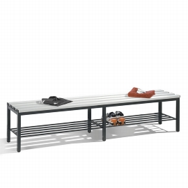 C+P Sitzbank 8052-010 freistehend mit Schuhrost 6 Füße (HxBxT) 420x1960x353mm Schwarz/Lichtgrau