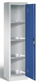 C+P Umweltschrank 8901-315 Acurado mit 4 Stahl-Wannenböden je 10l (HxBxT) 1950x500x500mm Lichtgrau/Fernblau