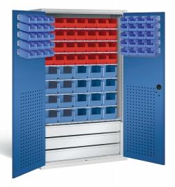 CP Großraum-Magazinschrank 130276-67 mit 3 Schubladen und 83 Sichtlagerkästen (HxBxT)1950x1100x535mm Lichtgrau/Enzianblau