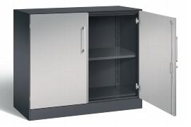 C+P Flügeltürenschrank 141052-000 2OH als Sideboard C3000 Asisto (HxBxT) 915x1000x435mm Schwarzgrau/Weißaluminium
