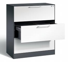C+P Hängeregistraturschrank 146043-312 C 3000 Asisto 3 Schubladen 2-bahnig (HxBxT) 1010x800x435mm Schwarzgrau/Verkehrsweiß