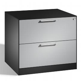 C+P Hängeregistraturschrank 146273-212 C 3000 Asisto 2 Schubladen 2-bahnig (HxBxT) 698x800x600mm Schwarzgrau/Weißaluminium