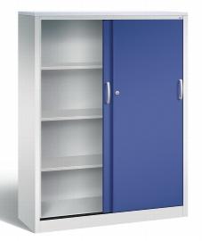 CP Schiebetüren Büroschrank 2048-1200 Sideboard Acurado 4 Ordnerhöhen (HxBxT) 1600x1200x400mm Lichtgrau/Lapisblau