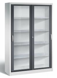 C+P Werkzeugschrank Schiebetüren mit Sichtfenster 2049-055 Acurado 4 Einlegeböden (HxBxT) 1950x1200x400mm Lichtgrau/Schwarzgrau