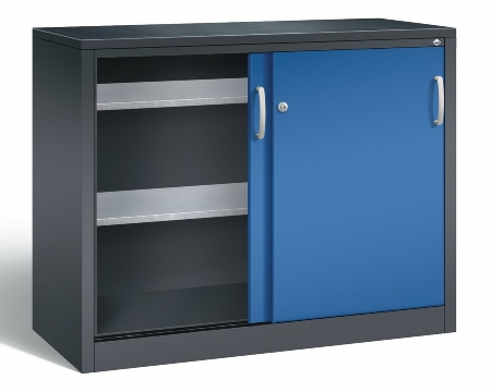 CP Schiebetüren Werkzeugschrank 2057-09 innen 2 Böden (HxBxT) 1200x1200x500mm Schwarzgrau/Lichtgrau