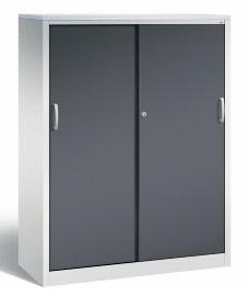 CP Schiebetüren Büroschrank 2058-1200 Sideboard Acurado 4 Ordnerhöhen (HxBxT) 1600x1200x500mm Lichtgrau/Schwarzgrau