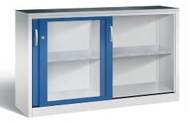 C+P Werkzeugschrank Schiebetüren mit Sichtfenster 2146-055 Acurado 2 Einlegeböden (HxBxT) 1000x1600x400mm Lichtgrau/Enzianblau