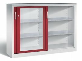 C+P Werkzeugschrank Schiebetüren mit Sichtfenster 2147-055 Acurado 4 Einlegeböden (HxBxT) 1200x1600x400mm Lichtgrau/Rubinrot