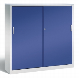 CP Schiebetüren Büroschrank 2148-1200 Sideboard Acurado 2x 4 Ordnerhöhen (HxBxT) 1600x1600x400mm Lichtgrau/Lapisblau