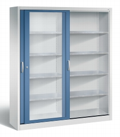 C+P Werkzeugschrank Schiebetüren mit Sichtfenster 2149-055 Acurado 4 Einlegeböden (HxBxT) 1950x1600x400mm Lichtgrau/Fernblau