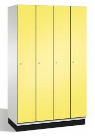 CP Garderobenschrank 45100-40 S6000 Cambio auf Sockel 4 Abteile 300mm (HxBxT) 1950x1200x525mm Lichtgrau/Schwefelgelb