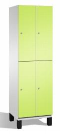 C+P Spind doppelstöckig 45101-20 Cambio auf Füßen 2x 2 Fächer 300mm (HxBxT) 1980x600x525mm Lichtgrau/Viridingrün