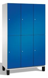 C+P Spind doppelstöckig 45101-32 Cambio auf Füßen 3x 2 Fächer 400mm (HxBxT) 1980x1200x525mm Lichtgrau/Enzianblau
