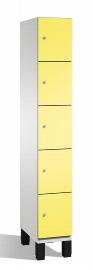 C+P Schließfachschrank 45104-10 Cambio auf Füßen 5 Fächer 300mm (HxBxT) 1980x300x525mm Lichtgrau/Schwefelgelb