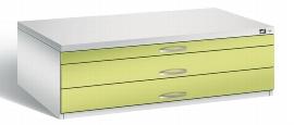 CP Flachablageschrank 7200-100 mit 3 Schubladen bis A0 (HxBxT) 420x1350x960mm Lichtgrau/Viridingrün