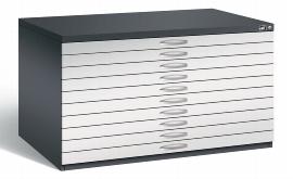 CP Flachablageschrank 7201-000 mit 10 Schubladen bis A0 (HxBxT) 760x1350x960mm Schwarzgrau/Lichtgrau