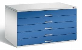 CP Flachablageschrank 7201-100 mit 5 Schubladen bis A0 (HxBxT) 760x1350x960mm Lichtgrau/Enzianblau