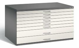 CP Flachablageschrank 7201-200 mit 8 Schubladen bis A0 (HxBxT) 760x1350x960mm Vulkangrau/Perlweiß