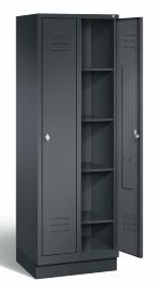 C+P Wäsche-Spind 8020-20B S2000 Classic 2 Abteile auf Sockel (HxBxT) 1800x610x500mm Schwarzgrau
