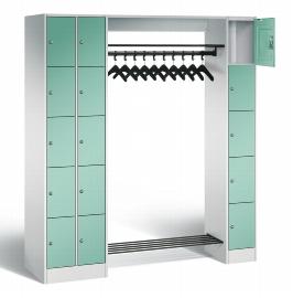 C+P Offene Garderobe 80730-00 mit 15 Schließfächern (HxBxT) 1950x2100x480mm Lichtgrau/Lichtgrün