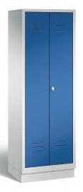 C+P Wäsche-Garderobenschrank 8160-20 S2000 Classic 2 Abteile auf Sockel (HxBxT) 1800x610x500mm Lichtgrau/Enzianblau
