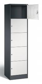 C+P Schließfachschrank 82700-10 Seried 8070 XL 5 Fächer (HxBxT) 1950x460x480mm Schwarzgrau/Lichtgrau