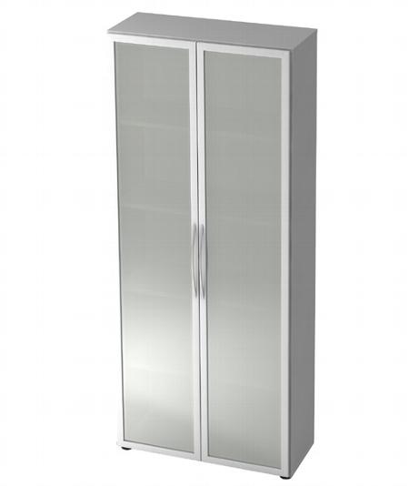 Hammerbacher Glastürenschrank 4200 BASIC 5OH mit Milchglasfüllung (BxTxH) 80x35x188cm Nussbaum/Silber