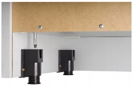 Hammerbacher Glastürenschrank 6100G SOLIDplus 5OH nicht abschließbar (BxTxH) 80x42x200,4cm Ahorn/Silber Streifengriff (Knauf)