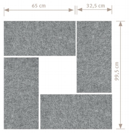 Hammerbacher Akustik-Wandpanel AWP65 (HxB) 65x33cm grau-meliert Pack 4 Stück