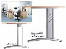 Hammerbacher Seitenblenden BSSE/S einliegend für Tischfuß Serie B-Serie Alusilber VE:1 Set