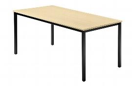 Hammerbacher Besprechnungstisch Serie D Trapezform (BxTxH) 160x69x72cm Quadratfüße 35x35mm Schwarz Tischplatte Weiß