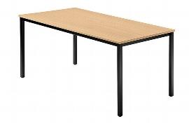 Hammerbacher Besprechnungstisch Serie D (BxTxH) 160x80x72cm Quadratfüße 35x35mm Schwarz Tischplatte Buche