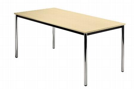 Hammerbacher Besprechungstisch Serie D Trapezform (BxTxH) 160x69x72cm Beine rund Ø40mm verchromt Tischplatte Grau
