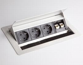 Hammerbacher Einbau-Datendose ELDATA1 3x Steckdose VDE +2x RJ45 Cat.6 versenkbar (mit Einbau)