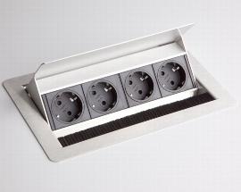 Hammerbacher Hammerbacher Einbau-Steckdosenleiste ELDOSE0 4x Steckdosen VDE versenkbar (ohne Einbau)