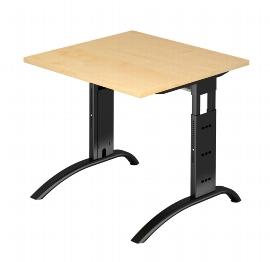 Hammerbacher Schreibtisch Serie FS08/D Arbeitshöhe 65-85cm (BxT) 80 x 80cm Ahorn/Schwarz