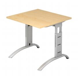Hammerbacher Schreibtisch Serie FS08 Arbeitshöhe 65-85cm (BxT) 80 x 80cm Ahorn/Silber
