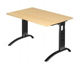 Hammerbacher Schreibtisch Serie FS12/D Arbeitshöhe 65-85cm (BxT) 120 x 80cm Ahorn/Schwarz